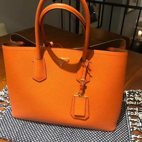 41cce04d7736 Prada Bags | Saffiano Cuir Double Orange | Poshmark